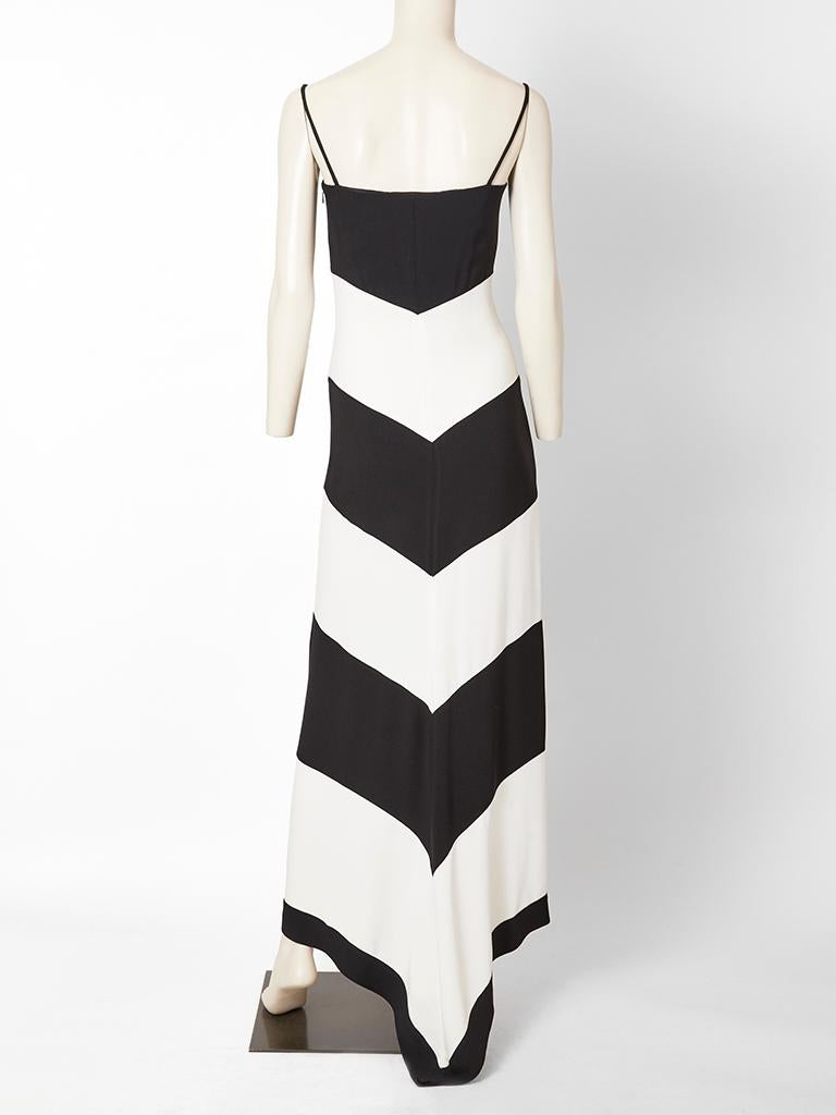 Women's Valentino Black and White Crepe Evening Dress For Sale