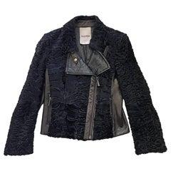 Valentino Black Astrakhan Lamb Fur Karakul Biker Jacket IT42 US 4-6