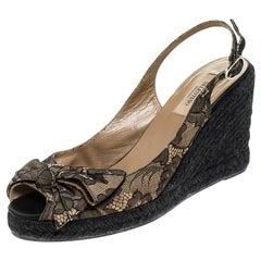 Valentino Black/Beige Lace Bow Slingback Wedge Espadrille Sandals Size 39.5