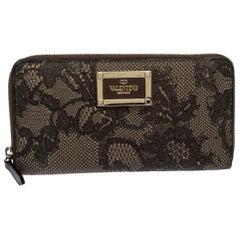 Valentino Black/Beige Lace Print Leather Zip Around Continental Wallet
