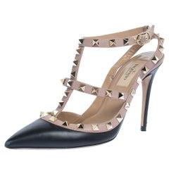 Valentino Black/Beige Leather Rockstud Ankle Strap Sandals Size 36.5
