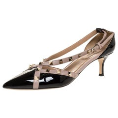 Valentino Black/Beige Patent And Leather Studded Crisscross D'orsay Size 39