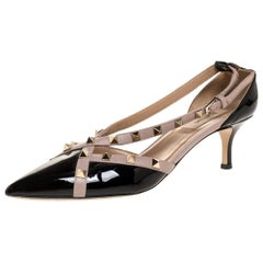 Valentino Black/Beige Patent And Leather Studded Crisscross Pumps Size 39