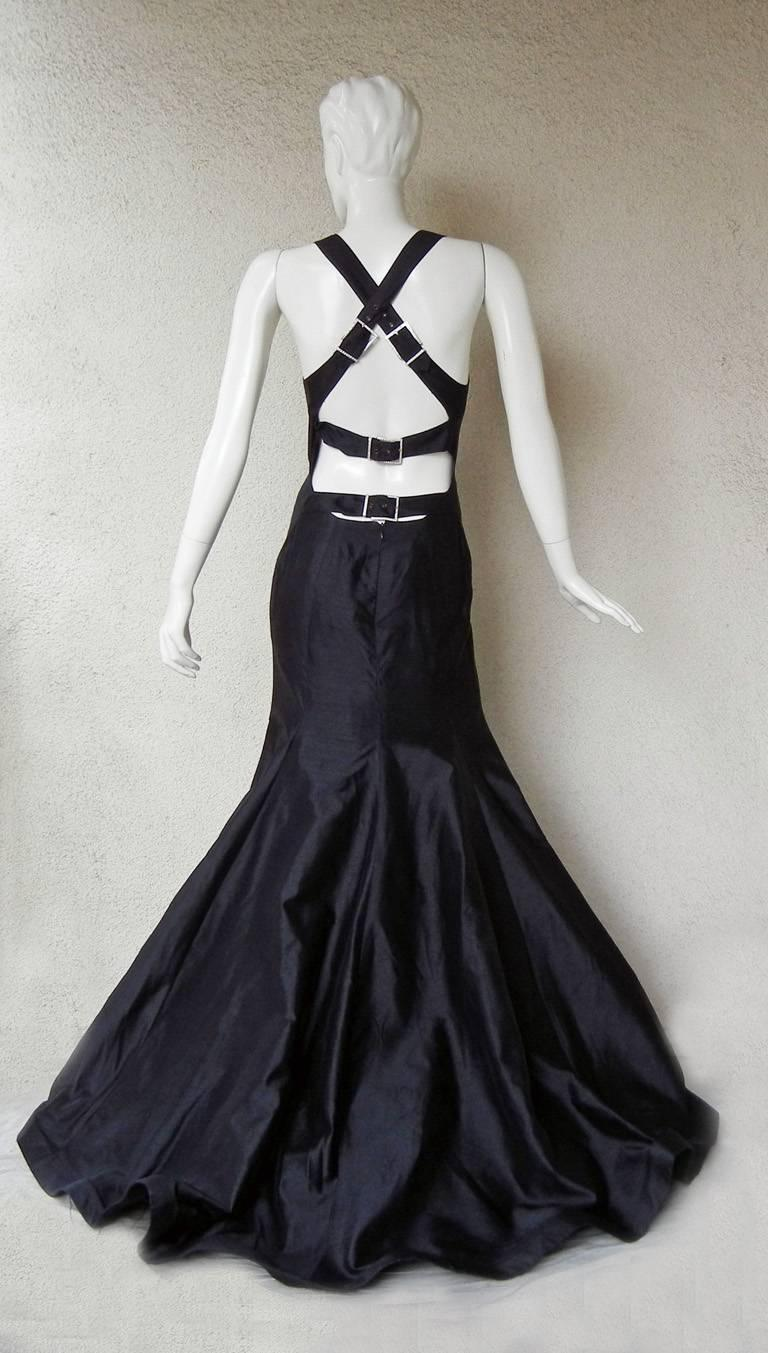 Women's Valentino Black Bondage Runway Finale Gown with Jeweled Buckles and Train  For Sale