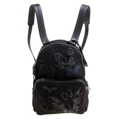 Valentino Black Canvas Embroidered Butterfly Backpack