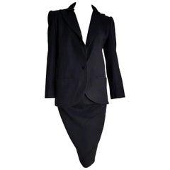 VALENTINO black cashmere embellished collar jacket velvet wool skirt - Unworn