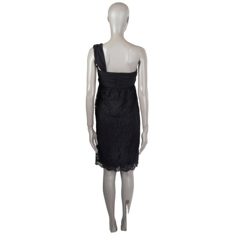 Black VALENTINO black cotton EMBELLISHED ONE SHOULDER LACE Dress 6 For Sale