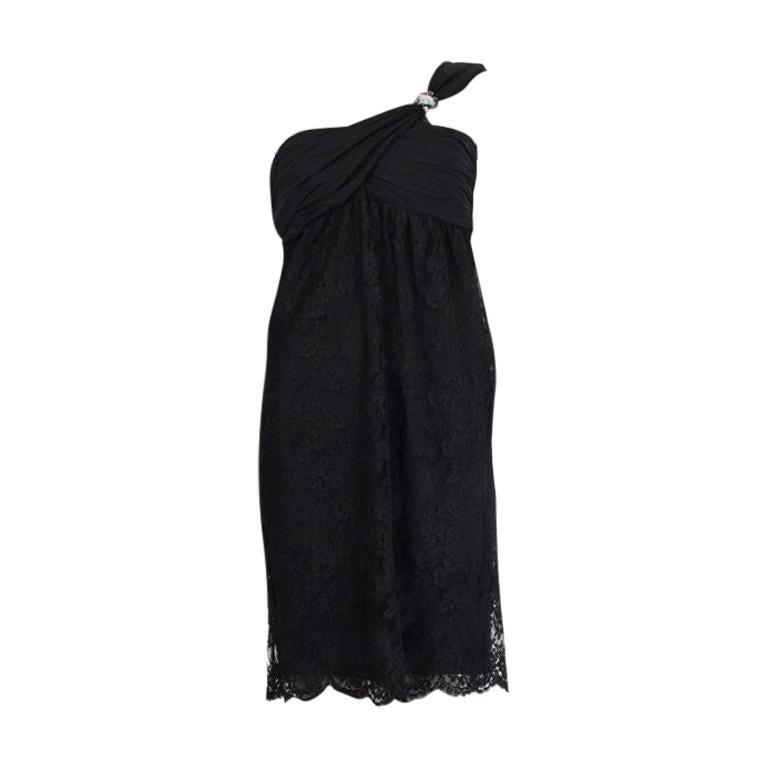 VALENTINO black cotton EMBELLISHED ONE SHOULDER LACE Dress 6 For Sale