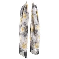 Valentino Black & Cream Floral Lace Print Scarf