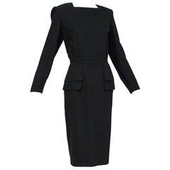 Valentino Black Crêpe Back-Button Day-to-Night Peplum Dress - Large, 1980s
