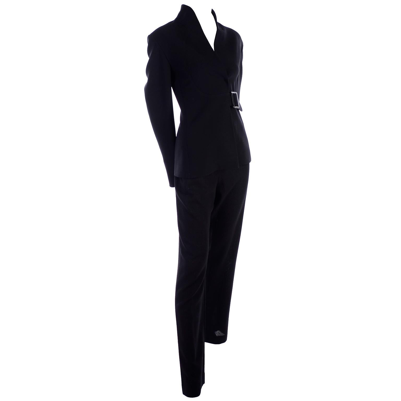 Valentino Black Crepe Trouser Pant suit With Belted Jacket Size 8