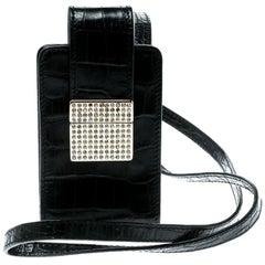 Valentino Black Croc Embossed Leather Crystal Studded Cigarette Case