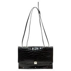 Valentino Black Crocodile Rockstud Shoulder Bag