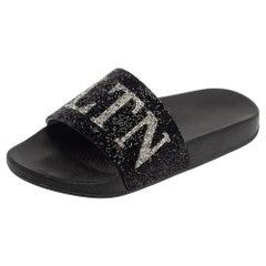 Valentino Black Crystal Logo Slide Sandals Size 39
