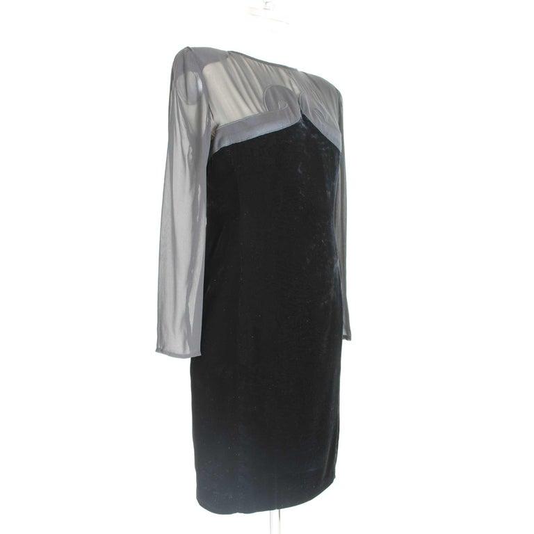 Women's Valentino Black Silk Velvet Evening 1990s Party Cocktail Elegant Sheath Dress  For Sale