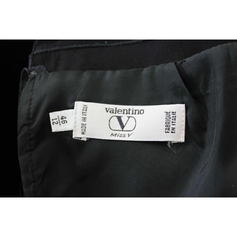Valentino Black Silk Velvet Evening 1990s Party Cocktail Elegant Sheath Dress  For Sale 3