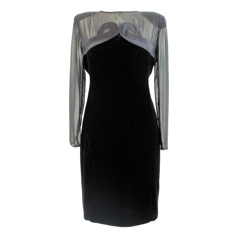 Valentino Black Dress Sheath Silk Velvet Evening 1990s Party Cocktail Elegant For Sale