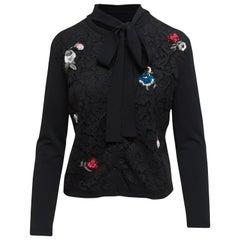 Valentino Black Embellished Lace Cardigan