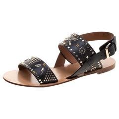 Valentino Black Embellished Leather Flat Sandals Size 37.5