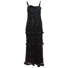 Valentino Black Embellished Silk Evening Gown