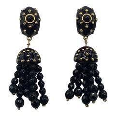 Valentino Black Enamel on Gold & Black Bead Tassel Earrings