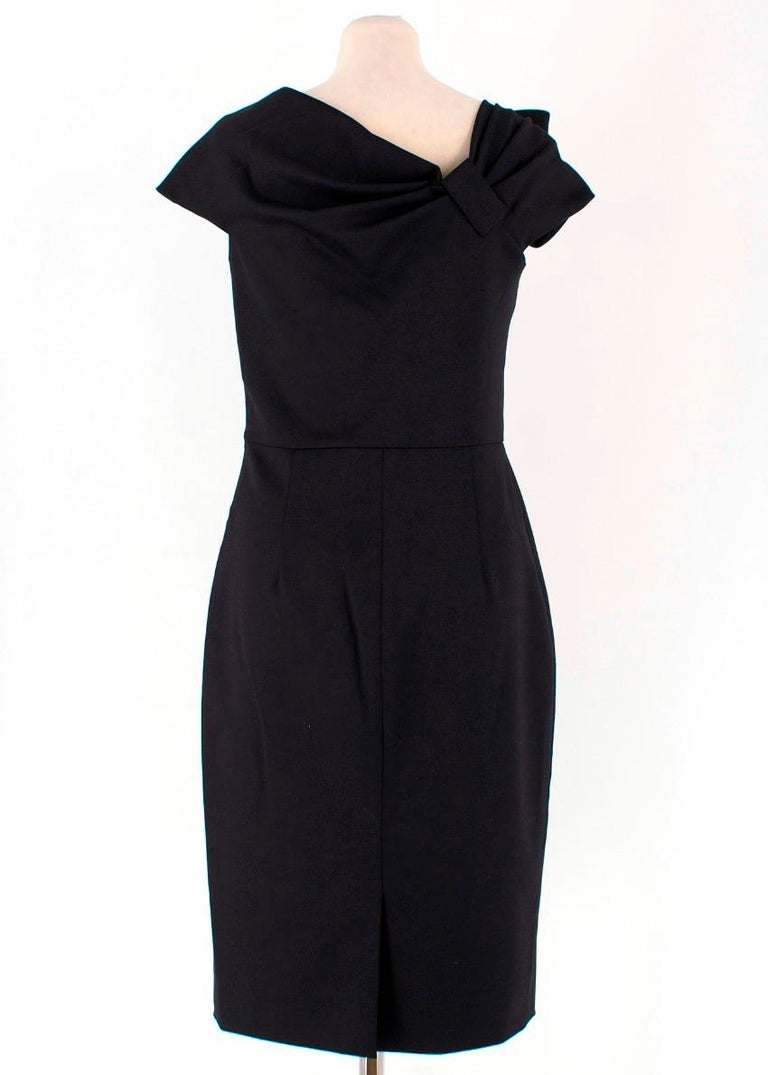 Valentino Black Fitted Bow Shoulder Wool Blend Dress - Size US 8 In Excellent Condition For Sale In London, GB