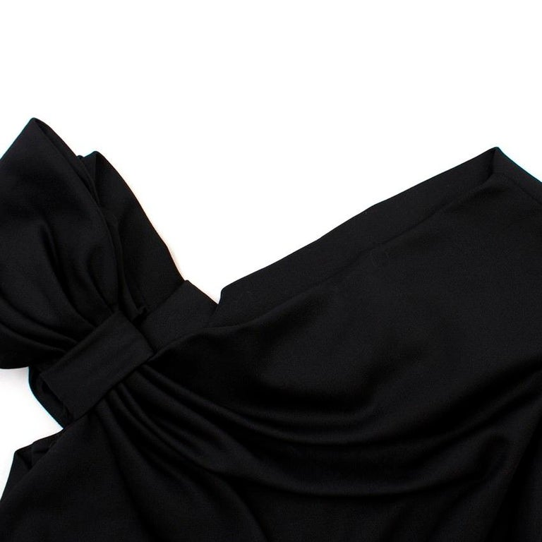 Women's Valentino Black Fitted Bow Shoulder Wool Blend Dress - Size US 8 For Sale