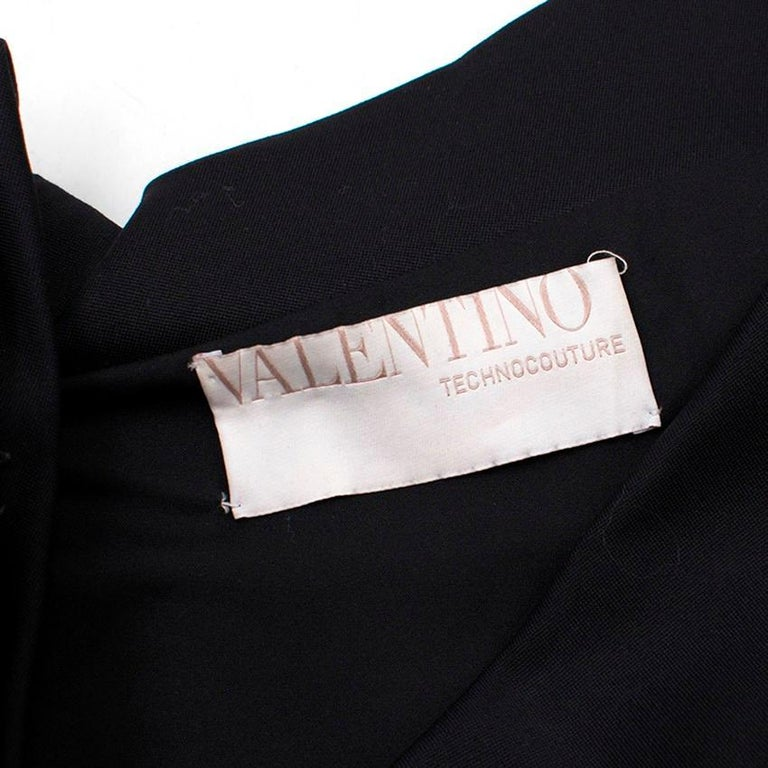 Valentino Black Fitted Bow Shoulder Wool Blend Dress - Size US 8 For Sale 1