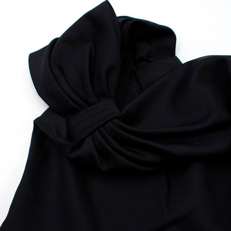 Valentino Black Fitted Bow Shoulder Wool Blend Dress - Size US 8 For Sale 3