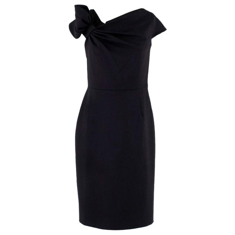 Valentino Black Fitted Bow Shoulder Wool Blend Dress - Size US 8 For Sale