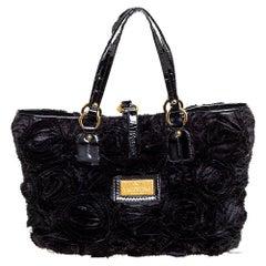 Valentino Black Floral Applique Satin and Patent Leather Shopper Tote