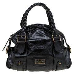 Valentino Black Glaze Leather Braided Handle Dome Satchel