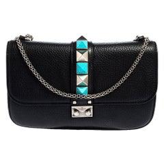 Valentino Black Grained Leather Rockstud Medium Glam Lock Flap Bag