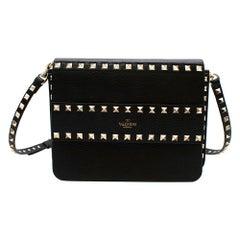 Valentino Black Grainy Leather Small Rockstud Shoulder Bag
