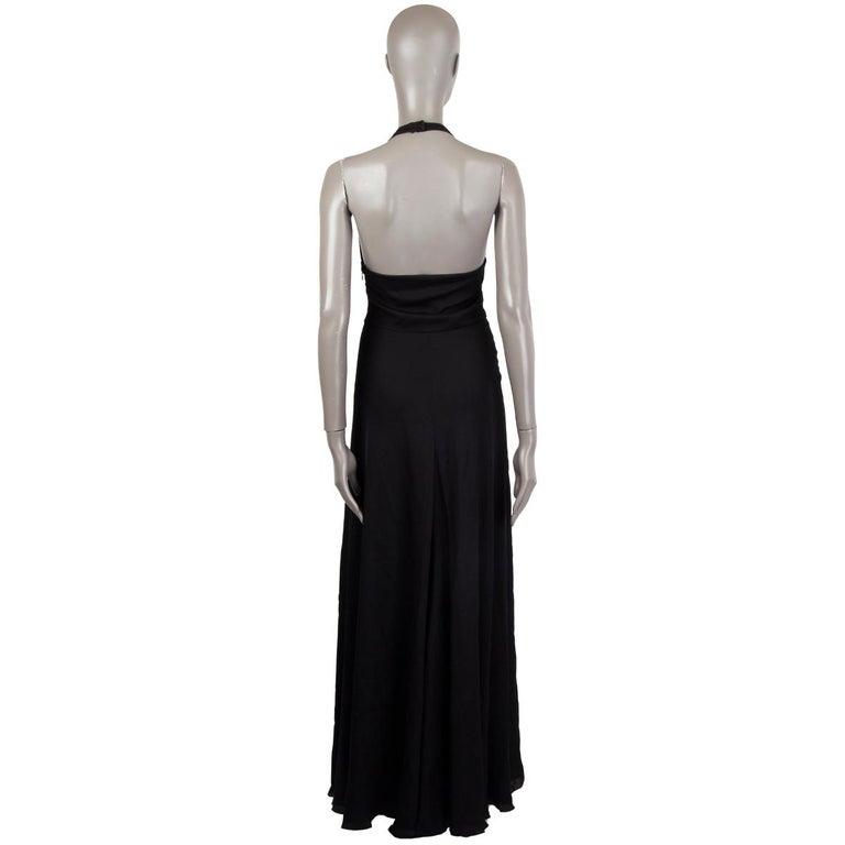 Black VALENTINO black HALTER EVENING GOWN MAXI Dress 40 For Sale