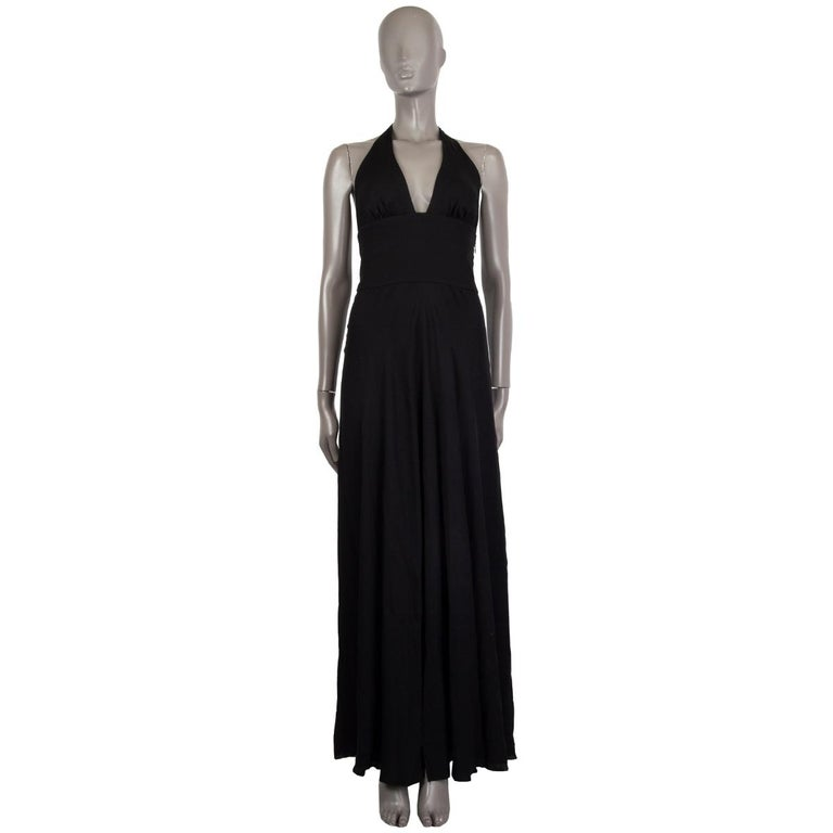 VALENTINO black HALTER EVENING GOWN MAXI Dress 40 For Sale 1