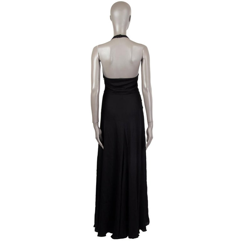 VALENTINO black HALTER EVENING GOWN MAXI Dress 40 For Sale 3