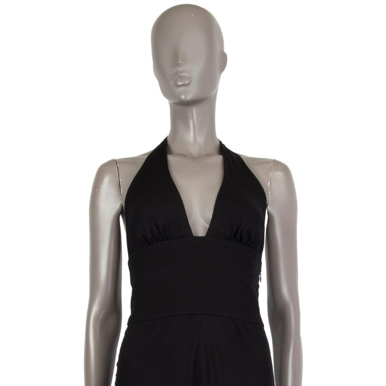 VALENTINO black HALTER EVENING GOWN MAXI Dress 40 For Sale 4
