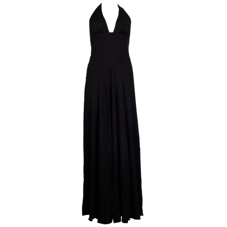 VALENTINO black HALTER EVENING GOWN MAXI Dress 40 For Sale