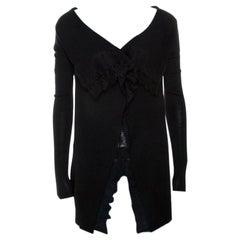 Valentino Black Knit Lace Trim Waterfall Front Cardigan M
