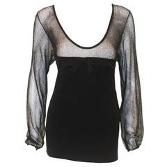 Valentino Black Knit & Mesh Long Sleeve Blouse