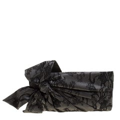 Valentino Black Lace Bow Clutch