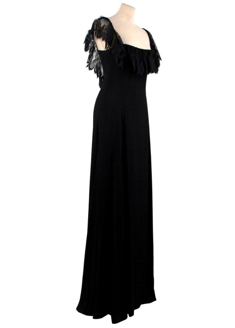 Valentino Black Lace Ribbon Tie Gown  - Squared neckline - Lace detail around the neckline, sleeves and back - Large ribbon corset style fastening at the back - Boned bodice - Drapes down to the floor - Beautiful evening gown - Fully lined in