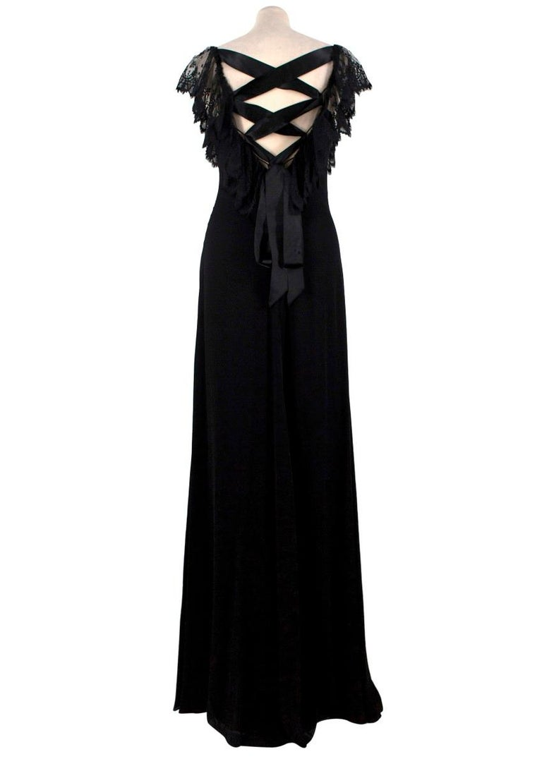 Valentino Black Lace Ribbon Tie Gown US 6 In Good Condition In London, GB