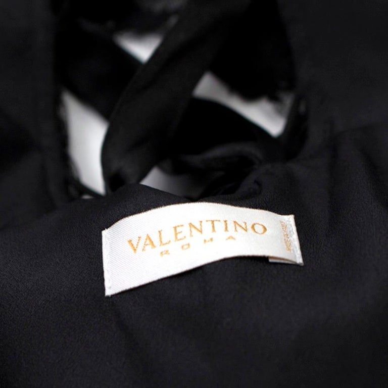Women's Valentino Black Lace Ribbon Tie Gown US 6