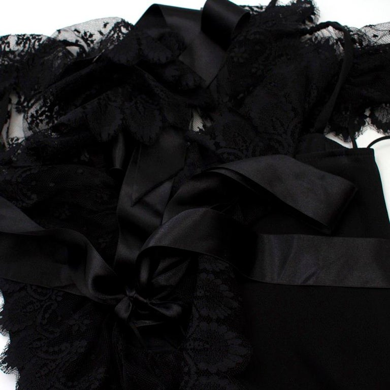 Valentino Black Lace Ribbon Tie Gown US 6 1