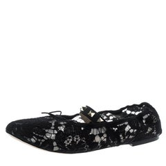 Valentino Black Lace Rockstud Bow Detail Ballet Flats Size 38