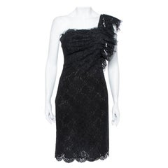Valentino Black Lace Ruffle One Shoulder Short Dress M