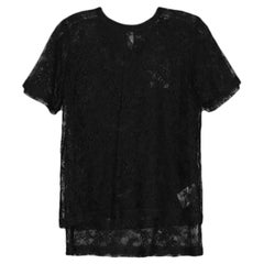 Valentino Black Lace Short-sleeve T-Shirt sz Small NWT