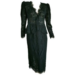 VALENTINO Black Lace, Slightly Transparent Jacket, Silk Skirt Suit - Unworn, New